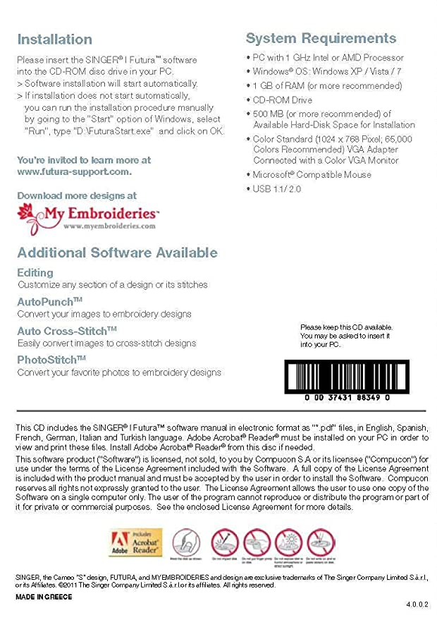 SINGER Futura HyperFont Software for XL-400