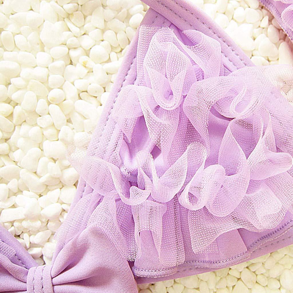 KONFA 3 Pieces Swimsuit Toddler Kids Baby Girls Bikini Set Swimwear Ruffled Halter Tops+Shorts+Hat Tankini Bathing Suit