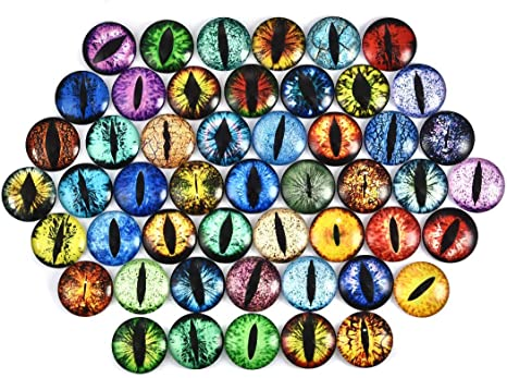 50pcs OBSEDE Round Glass Cabochon Eye Dome Cabochons Tiles for Photo Pendant Craft Ring Bracelet Necklace Jewelry Making,12mm//0.5inch