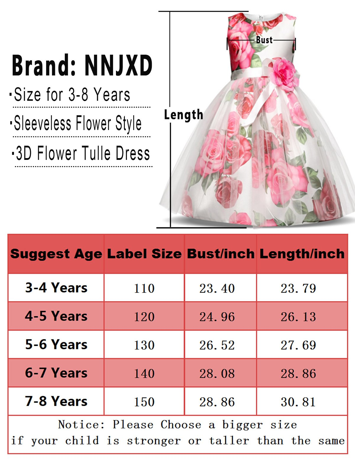 NNJXD Girl Flower Printed Cotton Elegant Tulle Bow Belt Princess Dress Size (130) 5-6 Years Pink by NNJXD (Image #7)