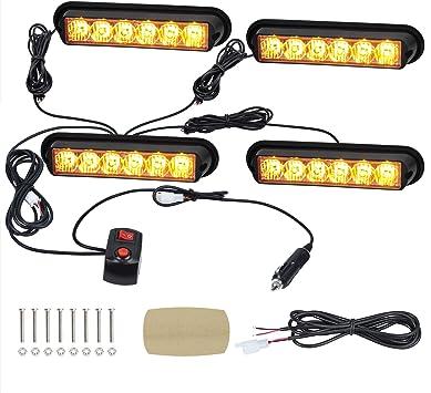 4 LED Car Strobe Emergency Flash Warning Light Grille Hazard Lamp 12V-24V