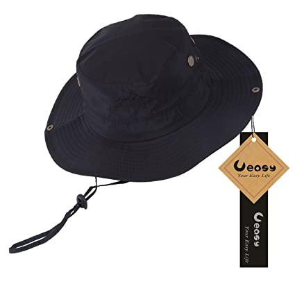 Ueasy Outdoor Waterproof Boonie Hat Fishing Wide Brim Hat UV Protection Cap  Hiking Sun Hat with 65ee2d681e7