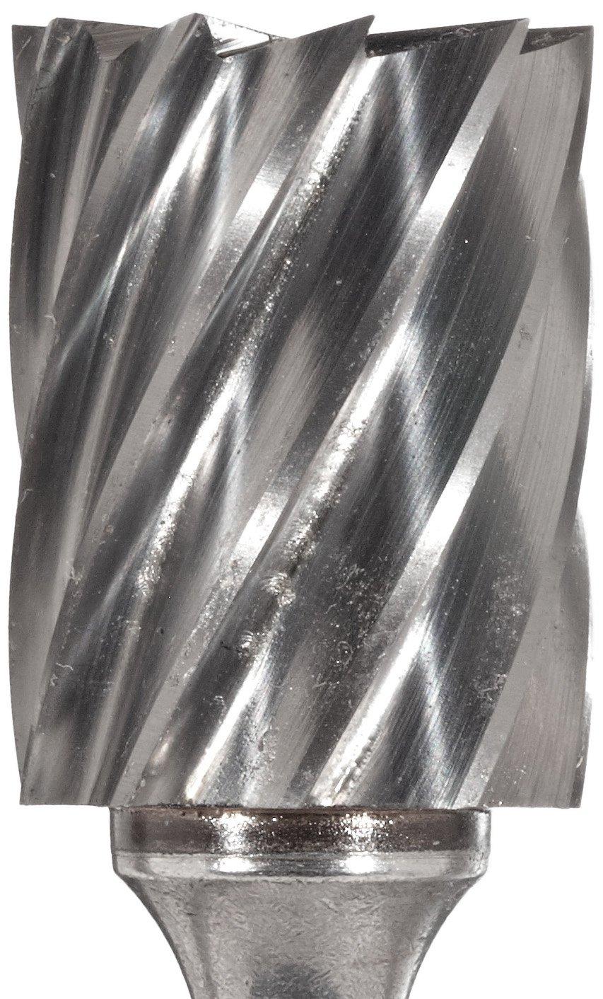 1//8 Shank Uncoated Bright Bassett SB-42 Cylindrical Solid Carbide Bur Finish Single Cut 7//16 Head Length 3//32 Head Diameter End Cut End