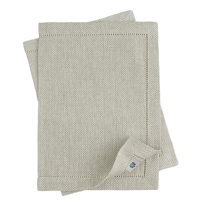 Linen & Cotton Tischsets/Platzsets Herringbone Oxford Natur/Beige, 100% Leinen - 30 x 44cm (2 Stück)