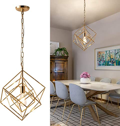 Square Chandelier Golden Industrial Pendant Light Fixture Rustic 1 Light Vintage Cage Hanging Ceiling Fixture