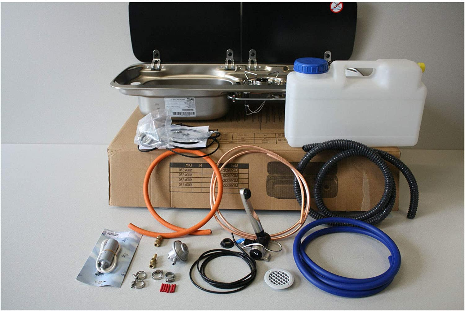 Installation Kit Truma Regulator Pump Micro-Switch Tap Smev 9222 Left-Hand Sink with Hob 12L Water Container