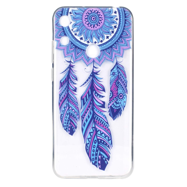 CUAgain Coque compatible avec Huawei Honor Play 8A Transparent Silicone Antichoc Motif Drôle Ultra Fine Slim Bumper Etui Honor Play 8A Transparente Case Housse pour Femme Fille Homme,Attrape reve bleu