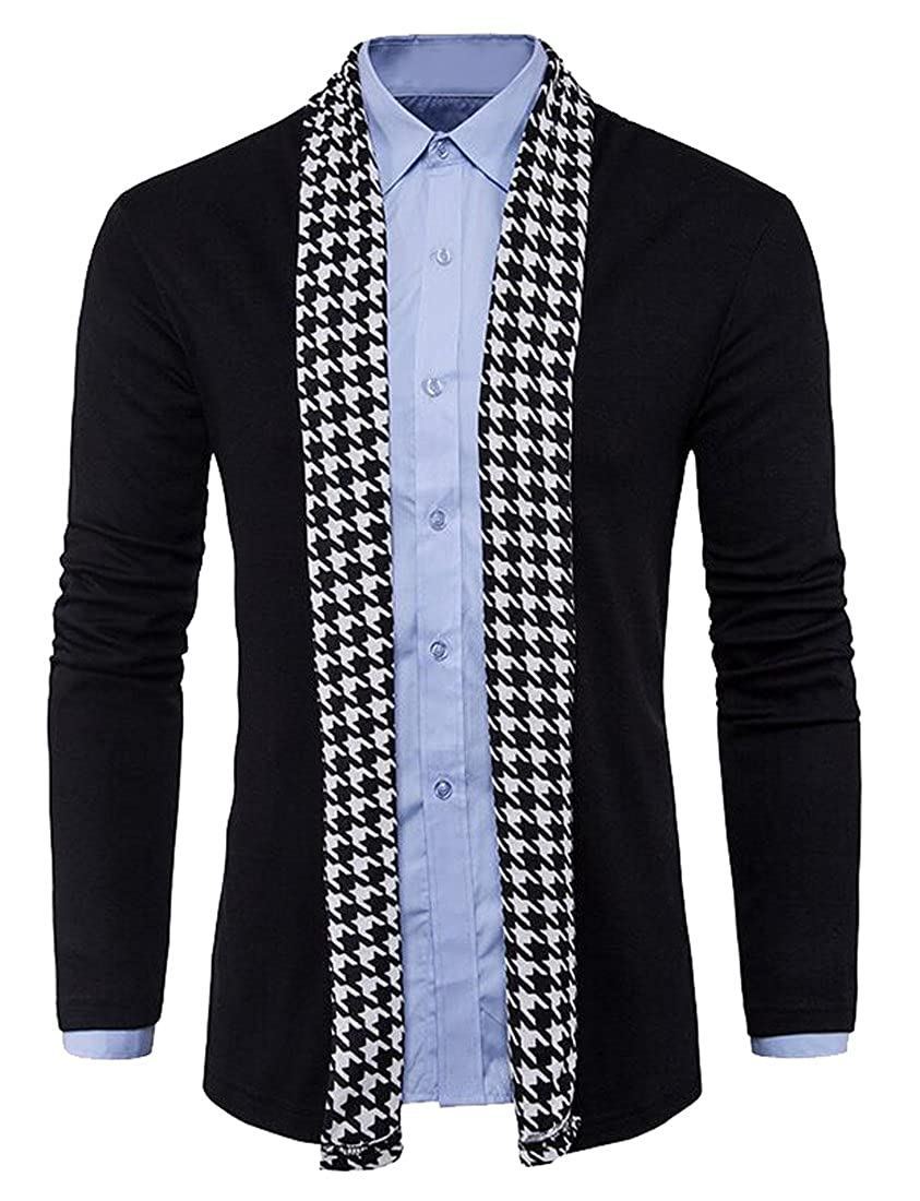 WAYA Mens Casual Long Sleeve Houndstooth Stitch Knitted Cardigan Jumper Sweater
