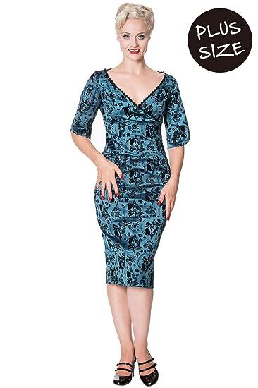 Banned Gothic Alternative Sia Bella Cat Print Pencil Dress ...