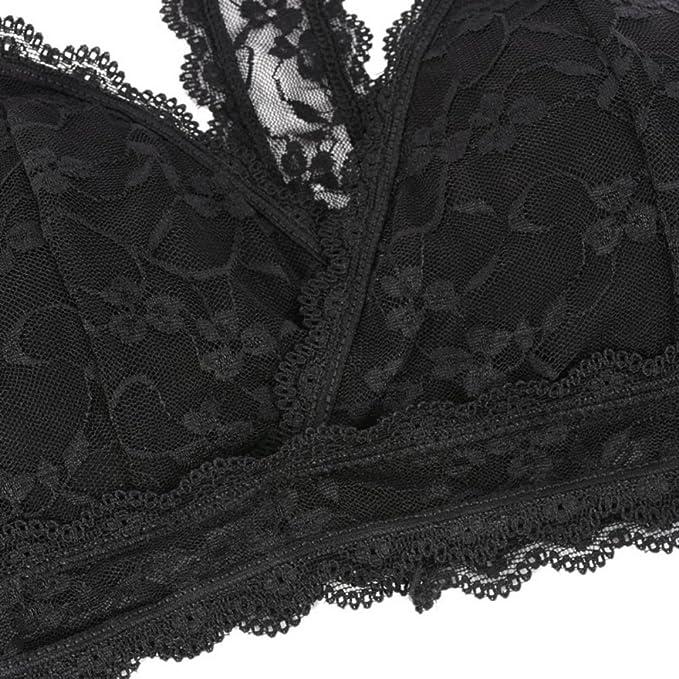 7b560678309 Bornbayb Lace Racerback Bralette Full Coverage Padded Wireless Lace Halter  Bra For Women Girls: Amazon.co.uk: Clothing