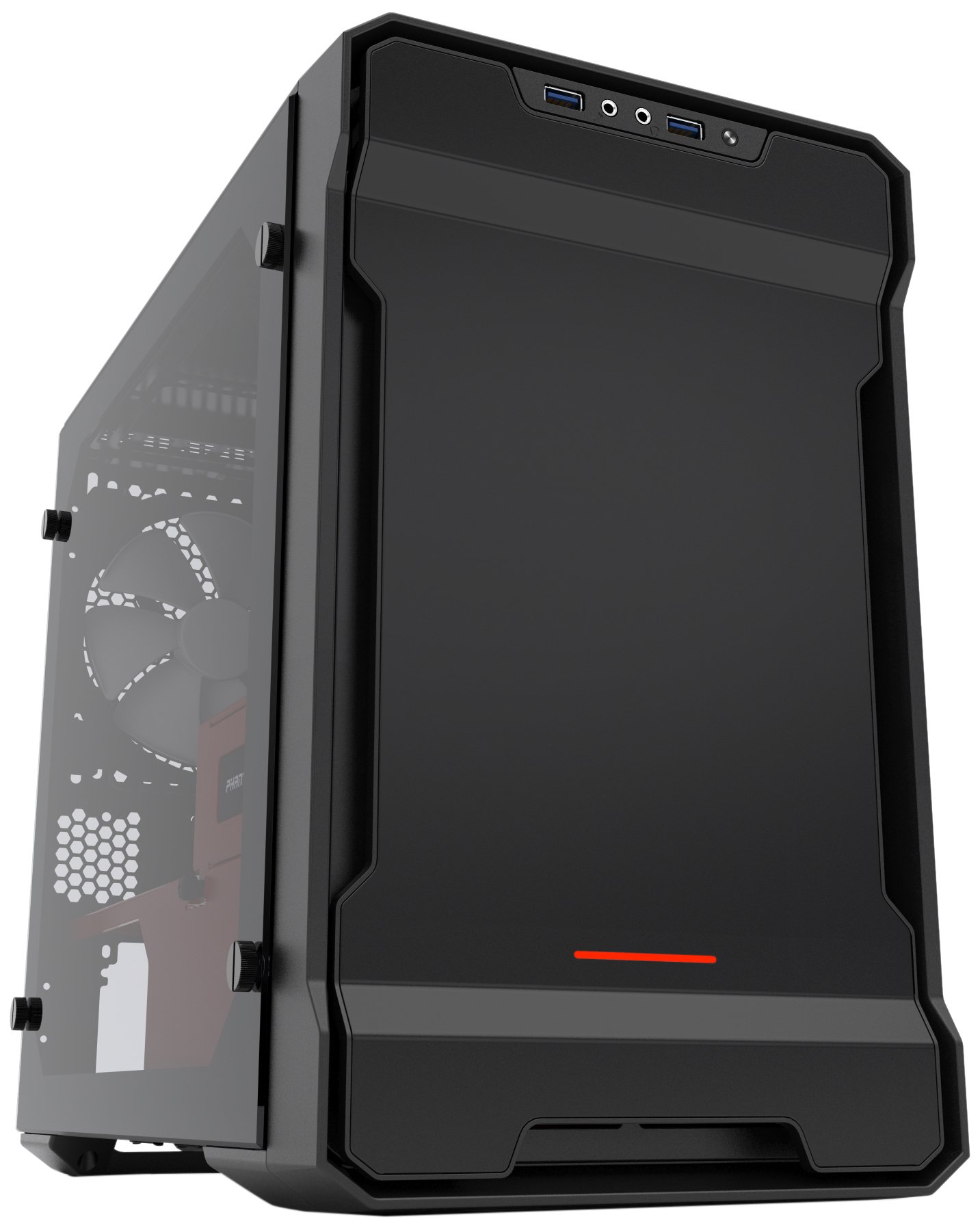 Phanteks Enthoo Evolv ITX Tempered Glass (PH-ES215PTG_SRD), Clean and Compact, Water Cooling Ready, Black/Red by Phanteks