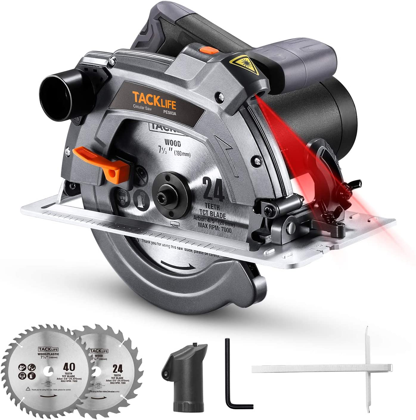 "Circular Saw 12.5A TACKLIFE,7-1/4"" & 7-1/2"" Two Blades, Electric Circular Saw with Aluminum Base, 5000 RPM, 0-45° Bevel Cuts, 0°"