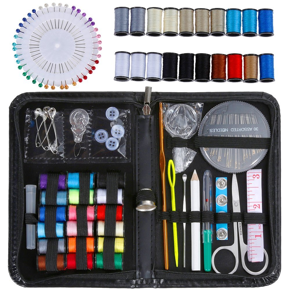 Anpro Sewing Kit with 20 Spools Sewing Thread and 40 Sewing Head Pins 131pcs Household Sewing Accessories with Portable Needlework Box for Home, Travel and Emergency Use (Black) ALC3-1-APX-UK