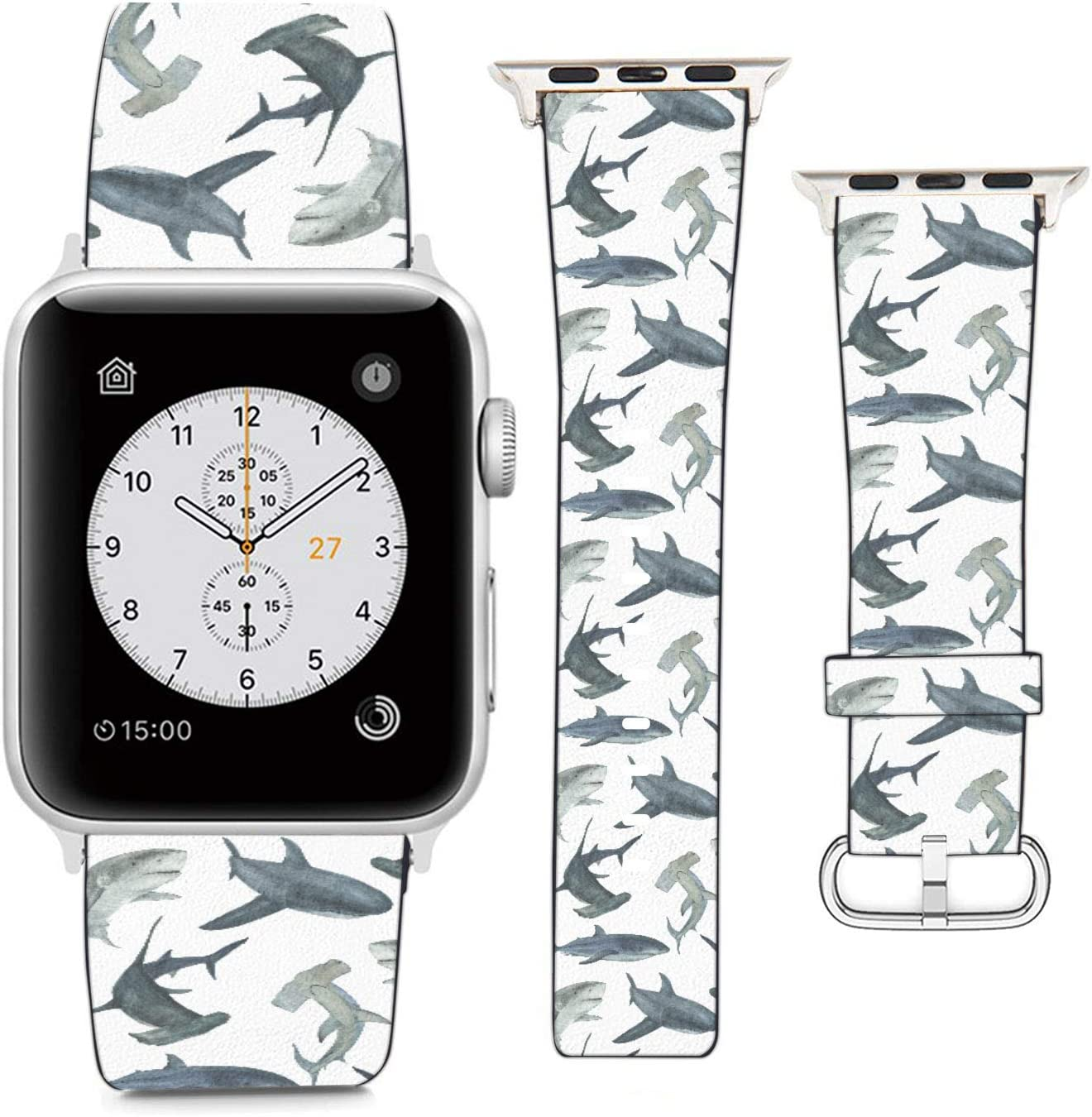 (Watercolor Shark Pattern) Patterned Leather Wristband Strap Compatible with Apple Watch Series 5/4/3/2/1 gen,Replacement for iWatch 38mm / 40mm Bands