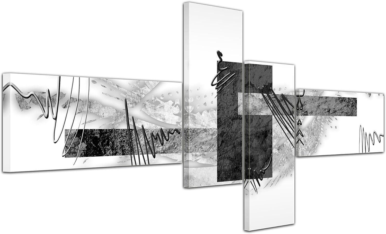 Bilderdepot24 Cuadros en Lienzo - Arte Abstracto Abstracto V Gris - 140x65cm 4 Partes - Listo tensa. Made in Germany!!!