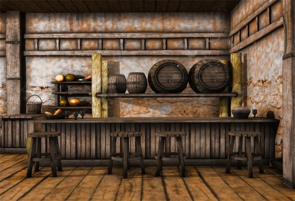 LFEEY 5x3ft Deserted Saloon Back Drop Western Cowboy Historic Old American Town Background Rum Tavern Exterior Photo Backdrop for Travel Portrait Party Photo Studio Props