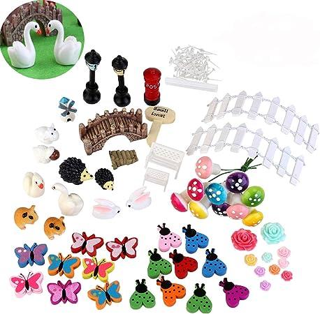 Bestomz Jardin Miniature 58pcs Fairy Decoration Pour Maison De Poupee Kit Diy Decor
