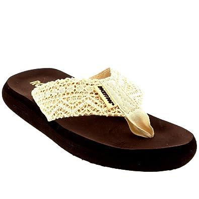 67440daf914e5a Rocket Dog Womens Spotlight Lima Crochet Sandals Beach Summer Flip Flops US  - Natural - 5