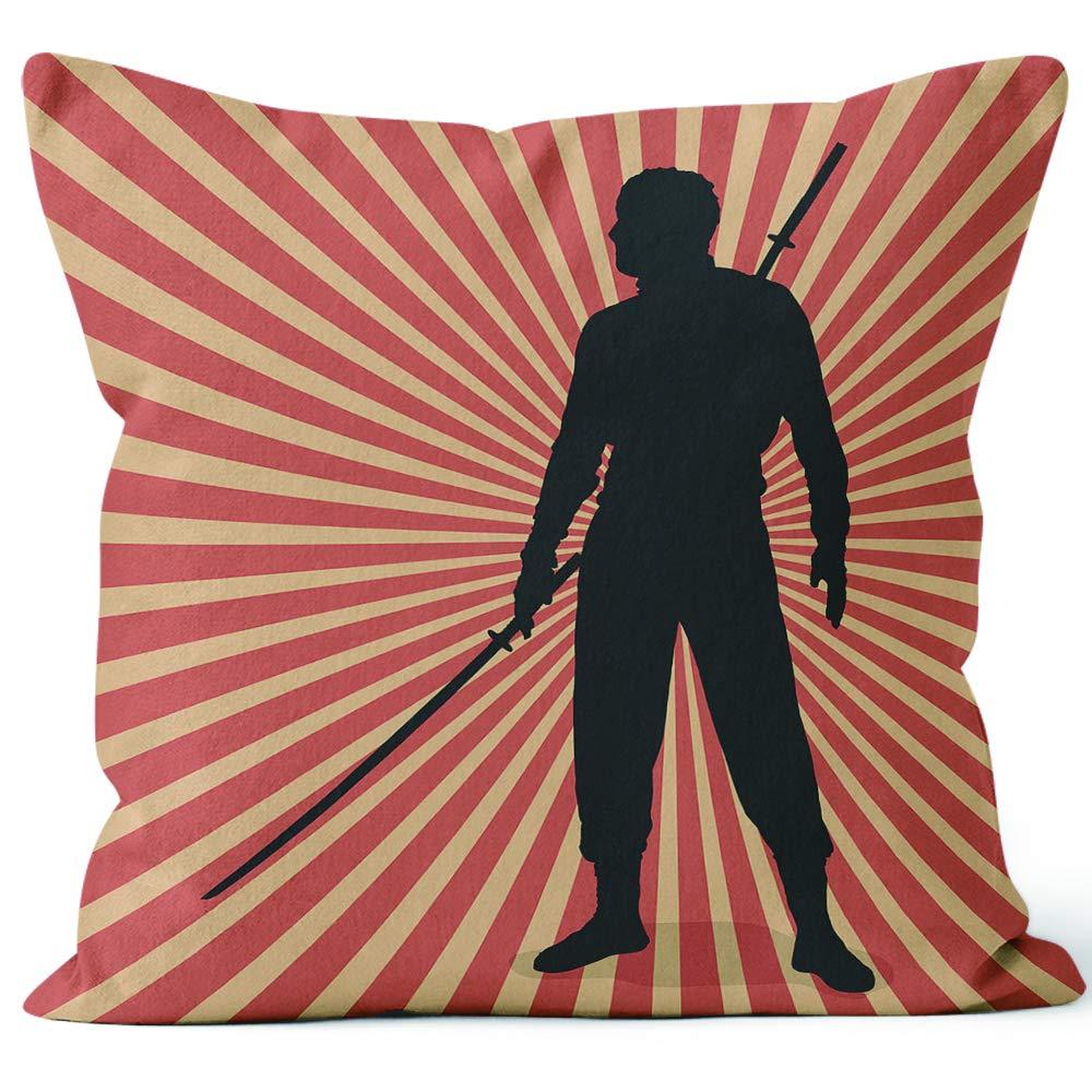 Amazon.com: Dual Sword Ninja Silhouette Throw Pillow Cushion ...