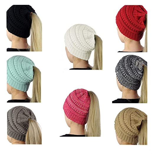 2d19e77d9 SEALEN Beanie Tail Soft Stretch Trendy Warm Chunky Women Knit Messy ...