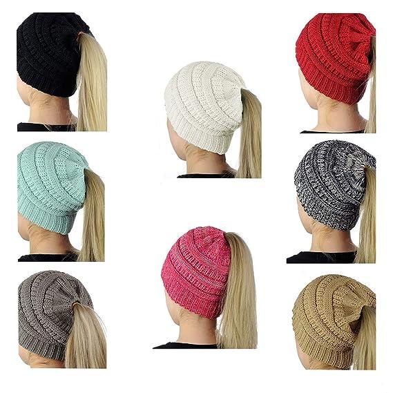 1725cb9ea SEALEN Women Beanie Tail,Soft Stretch Trendy Winter Messy High Bun Ponytail  Hat