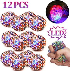 ZGWJ 12 Pack Anti-Stress Ball LED Mesh Squeeze Ball Toys Home and Office Use Stress Relief Toys for Easter Christmas Birthday Gift