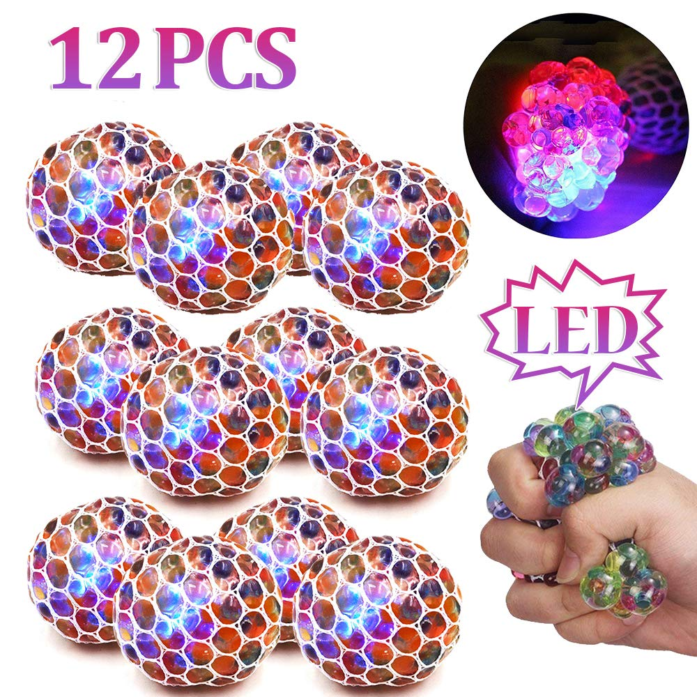 ZGWJ 12 Pack Anti-Stress Ball LED Mesh Squeeze Ball Toys Home and Office Use Stress Relief Toys for Kids Adults (mesh Stress Ball)