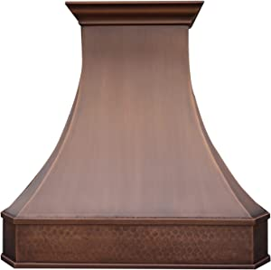 """SINDA Copper Range Hood, Comes with Stainless Steel Insert Liner & 610 CFM Internal Motor, LED Lights, Baffle Filter, Wall Mount 36""""W x 21""""D x 42""""H, H3SL (Ready to Ship 5-7 Business Days Delivery)"""