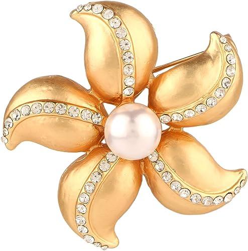 Amazon Com Efulgenz Crystal Rhinestone Pearl Flower Bridal Brooch