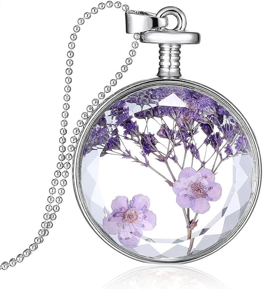 Feilok - Collar con colgante de botella de flores secas para niña