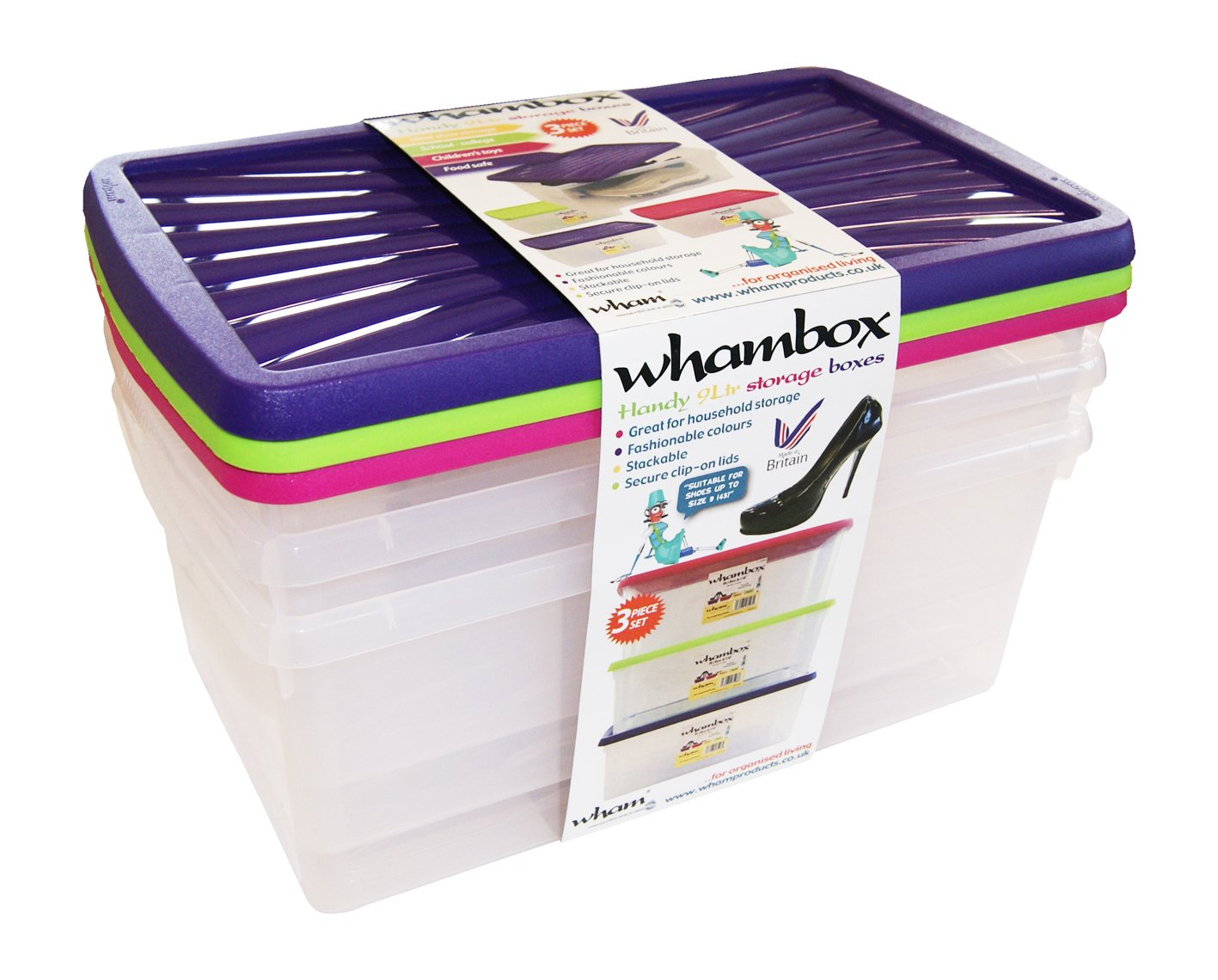 Wham 13129 Wham 9 Litre Box Storage Boxes Set of 3 Polypropylene Transparent Clear with Coloured Lids WHAM7