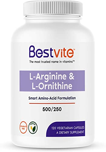 L-Arginine L-Ornithine 500-250 120 Vegetarian Capsules – No Stearates – No Fillers