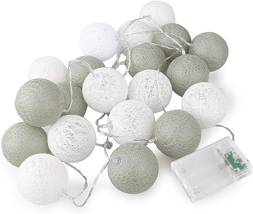 ROSENICE Cadena de luces para algodón bola 20 LED AA pilas para la decoración de fiesta de boda jardín: Amazon.es: Hogar