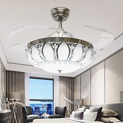 Tiptonlight 42 Inch Crystal Retractable Ceiling Fan Color Changing Lights Tricolor With Remote Stealth Fan Lamp Dining Room Ceiling Fan Light Crystal