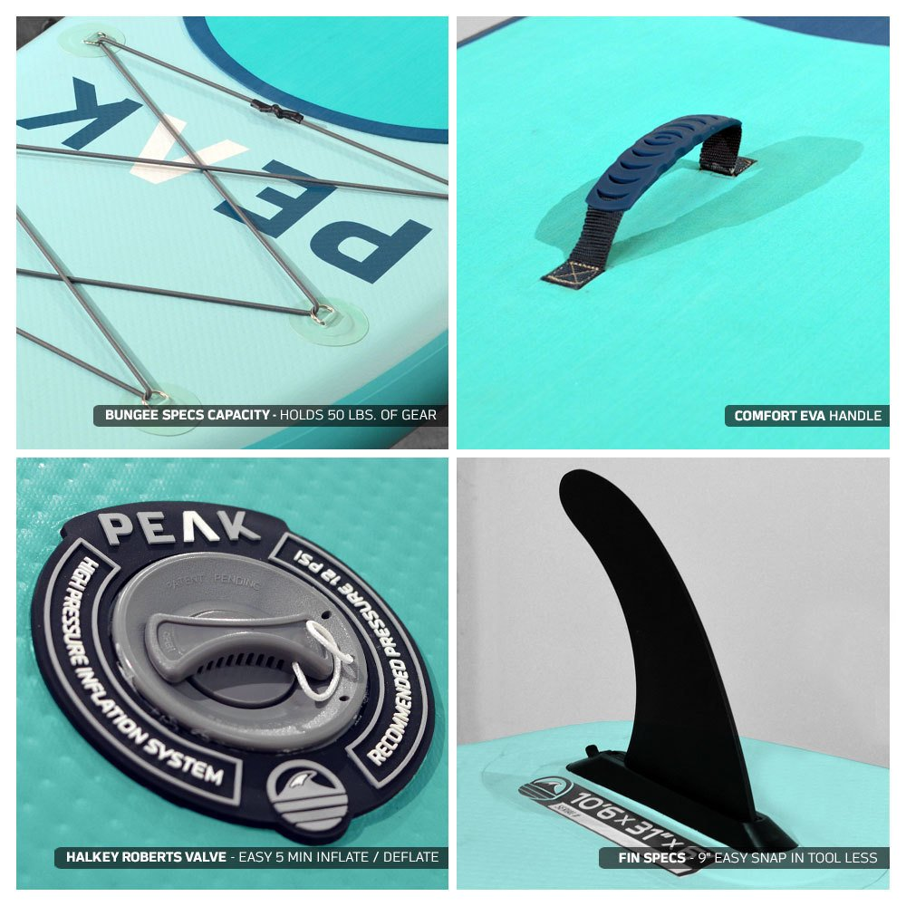 Peak All Around Inflatable Stand Up Paddle Board Package   10'6'' Long x 32'' Wide x 6'' Thick   Durable and Lightweight SUP   Stable Wide Stance   Aqua by PEAK Paddle Boards (Image #6)