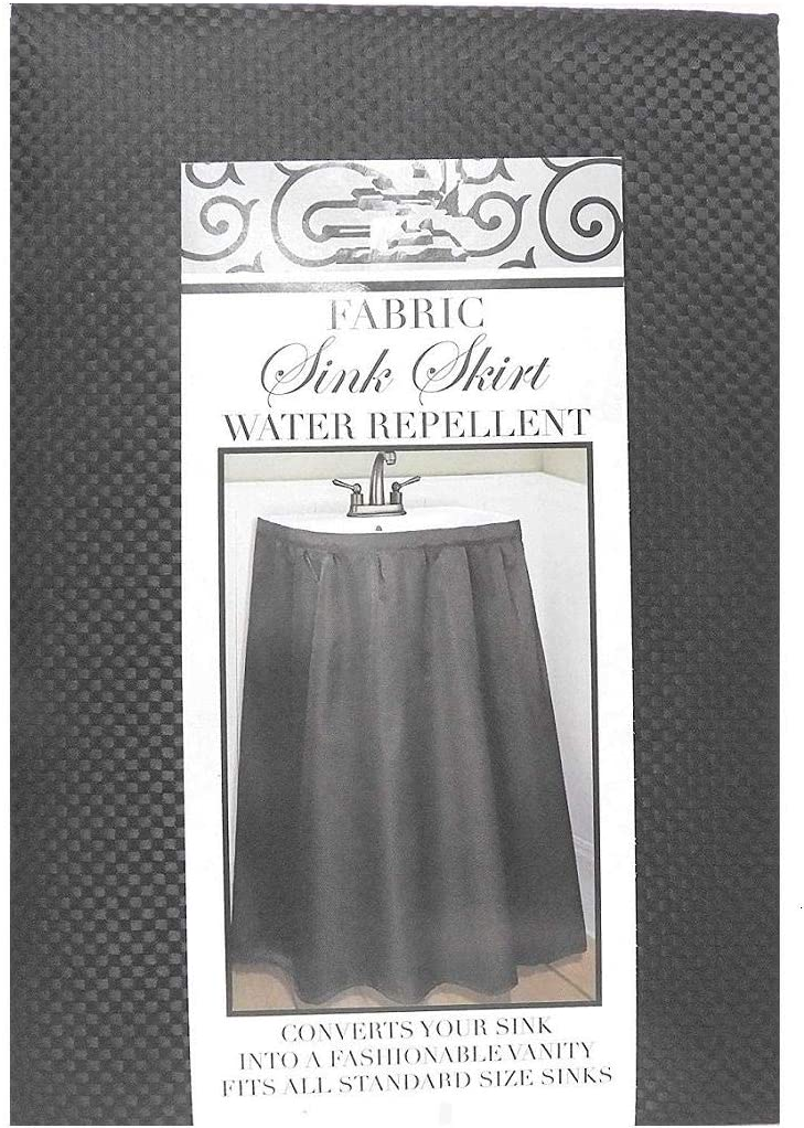 Home & Style Fabric Sink Skirt Mosaic Stitch Black