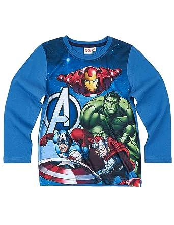 db150d3d24050 Les Avengers T-Shirt Manches Longues Enfant garçon Bleu de 6 à 12 Ans:  Amazon.fr: Vêtements et accessoires