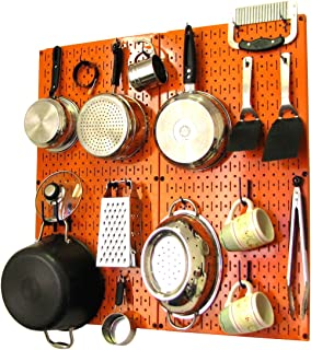 product image for Wall Control Kitchen Pegboard Organizer Pots and Pans Pegboard Pack Storage and Organization Kit with Orange Pegboard and Blue Accessories