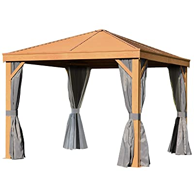 Outsunny 10' x 10' Steel Hardtop Gazebo Wood Effect Pattern with Netting and Screened Curtains Sidewalls : Garden & Outdoor