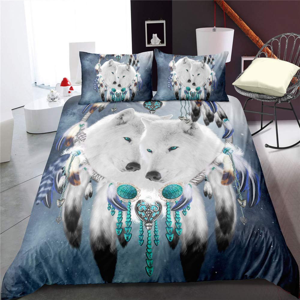 EsyDream Wolf Dream Catcher Bedding 3 Piece Twin Queen King White Wolves Bed Set Blue Galaxy Wolf Couple Duvet Cover No Comforter Full Color 6