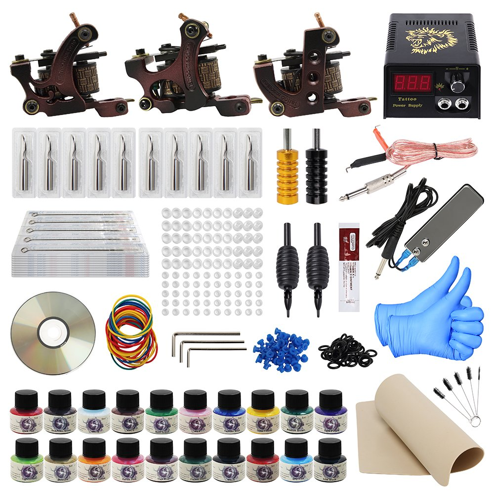 ITATOO Complete Tattoo Kit for Beginners Tattoo Power Supply Kit 20 Tattoo Inks 50 Tattoo Needles 3 Pro Tattoo Machine Kit Tattoo Supplies TK1000011 Ltd