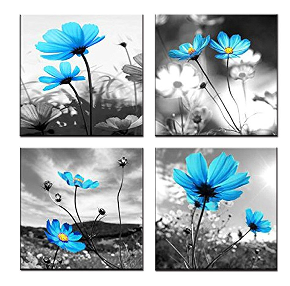 GOUPSKY Blue Flower Painting Blossom Still Life Abstract Canvas Wall Art Black White Sky Sunlight Framed Pictures