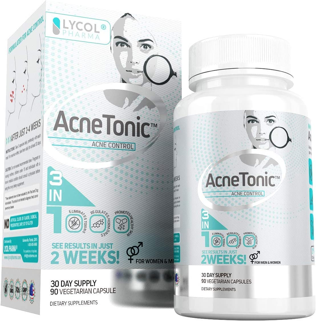 Acne Treatment Supplement Skin Tonic Powerful Antioxidant and Advanced Formula for Teens, Men and Women Highly Effective Acne Vitamins with Neem Powder Non-GMO Grape Seed