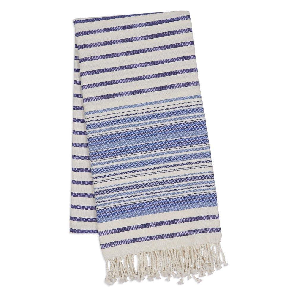 Design Imports 78'' Stripe Fouta Towel in Indigo
