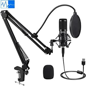 USB Condenser Microphone, IKEDON 192KHZ/24Bit Plug & Play PC Streaming Mic, USB Microphone Kit with Professional Sound Chipset Boom Arm Set, Studio Cardioid Mic for Recording YouTube Gaming Podcasting