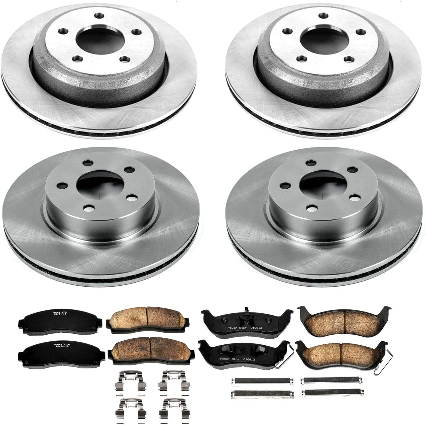 Power Stop KOE6273 Autospeciality Replacement Front and Rear Brake Kit OE Rotors /& Ceramic Brake Pads