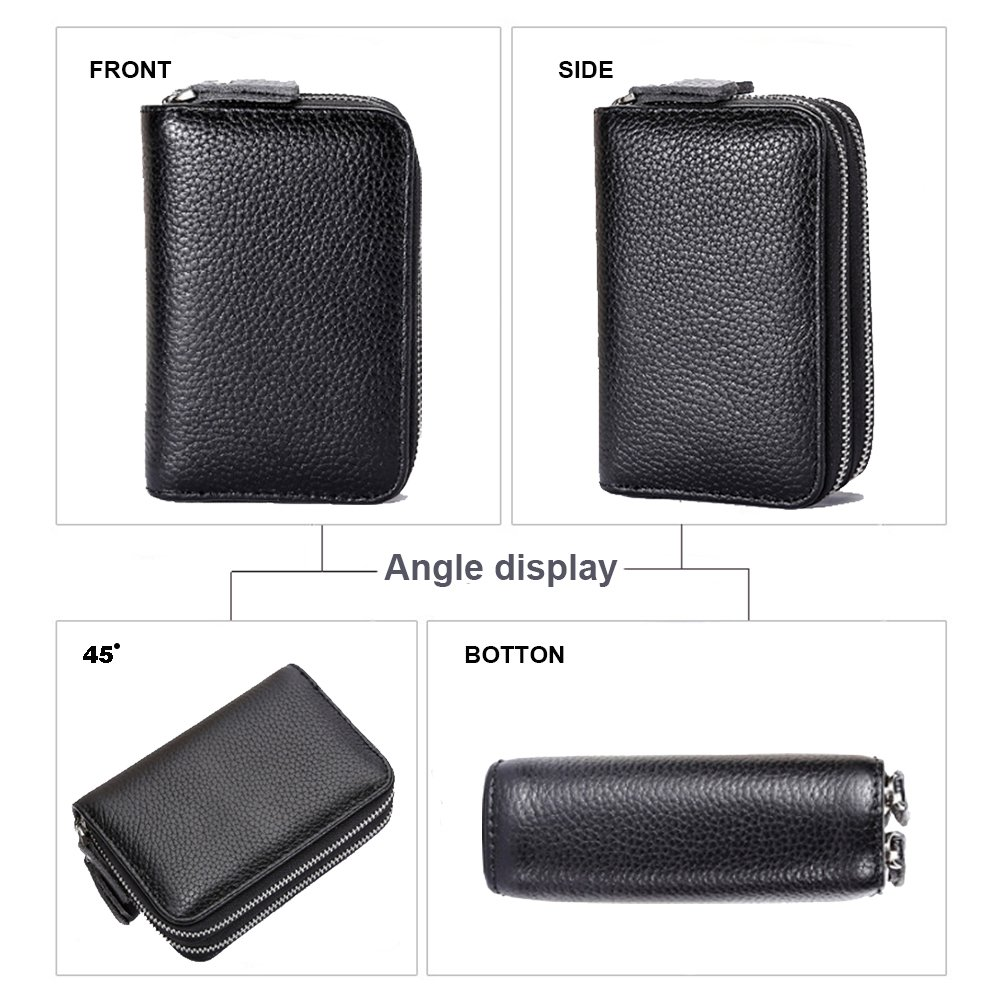 women's Genuine Leather Wallets double Zipper Credit Card slots ladies black purse With 12 Card Slots -Mother's Day gift… (Black) by DIFFERENT (Image #3)