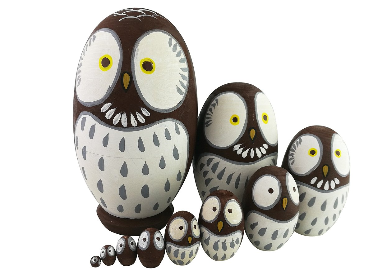 Adorable Lovely Animal Theme Big Round Eyes Brown Wise Owl Egg Shape Wooden Handmade Nesting Dolls Matryoshka Dolls Set 10 Pieces for Kids Toy Birthday Home Kids Room Decoration by Winterworm (Image #1)