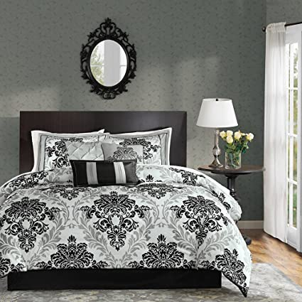 Amazon Com Madison Park 7 Piece Black And White Damask Floral