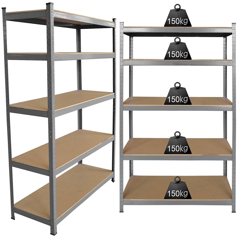 3x 1.5m Galvanized 5 Tier Shelving Unit Industrial Garage Warehouse Storage